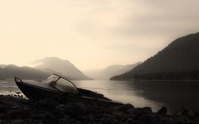 Обои озеро, Лодка, горы, камни