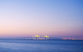 Картинка море, закат, мост, огни, Флорида, розовое небо