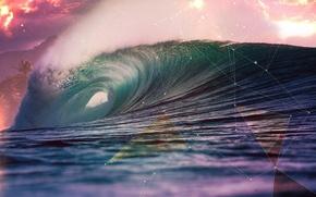 Обои абстракция, океан, волна