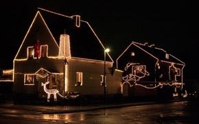 Картинка украшения, ночь, дом, рождество