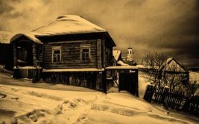 Картинка Природа, деревня, старое фото, храм, монохром, эима