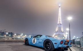 Картинка голубой, Париж, Ford, фонари, light, Эйфелева башня, Paris, форд, blue, night, gt40, eiffel tower
