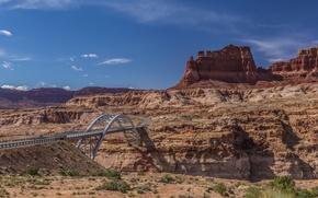 Картинка небо, горы, мост, скалы, каньон