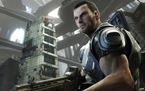 Обои взгляд, оружие, солдат, Токио, разруха, броня, мегаполис, Binary Domain, Dan Marshall
