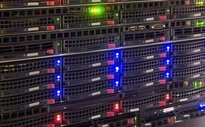 Картинка data storage, data center, hard drives, lights