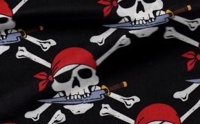 Картинка фон, пират, нож, текстуры, бандана, веселый роджер