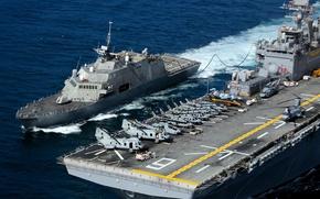 Картинка 2006, gun, 2005, jet, helicopters, US Navy, USS Freedom, hunting, aircraft carriers, warplane, 000 t, …