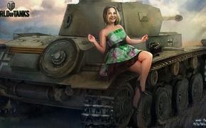 Картинка девушка, танк, girl, танки, WoT, Мир танков, tank, Анастасия, World of Tanks, tanks, Wargaming.Net, BigWorld, …