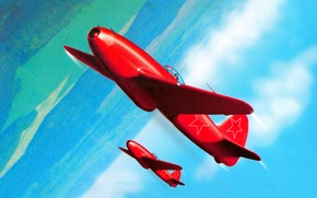 Картинка war, art, jet, russian fighter, russian jet, yak 15