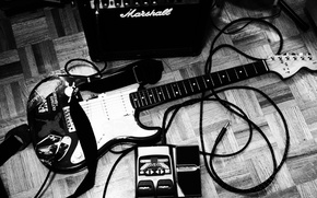 Обои инструмент, стиль, чёрно-белое, кабель, штекер, Электрогитара, обои, музыкальный, музыка, фото, шнур