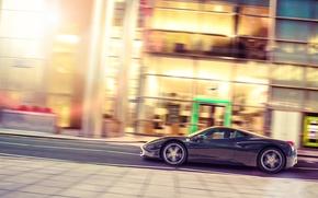 Картинка улица, профиль, чёрная, Ferrari, феррари, 458, Black, Italia, profile, Jun Dang