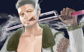 Картинка дым, меч, арт, мужчина, Аниме, сигары, Anime, One Piece, блондин, Большой Куш, Smoker, White Hunter