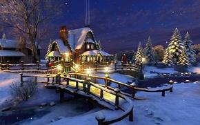 Картинка зима, звезды, снег, украшения, ночь, мост, огни, река, ручей, праздник, елка, ель, Рождество, фонари, Новый …