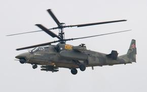 Картинка Небо, Фото, Полет, Вертолет, Высота, Камов, Боевой, Ка-52, Аллигатор