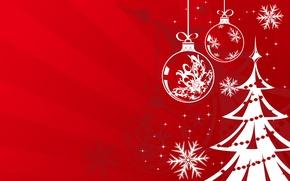 Картинка красный, шары, елка, новый год