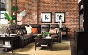 Картинка цветок, диван, стена, часы, картины, столик, остиная
