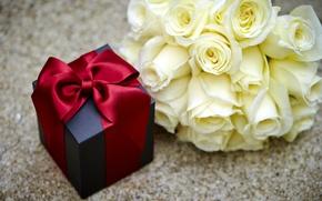 Картинка flowers, коробка, подарок, Valentine's Day, gift, розы, romantic, бант, roses, love, heart