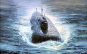 Картинка море, ракетоносец, подводная лодка