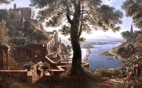 Картинка картина, художник, Château en bordure de fleuve, Castle riverside, Karl Friedrich Schinkel