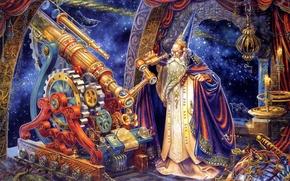 Картинка звезды, мантия, телескоп, механизмы, Волшебник, обсерватория