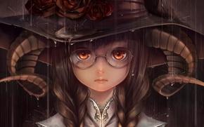 Картинка девушка, дождь, розы, шляпа, арт, очки, рога, bouno satoshi