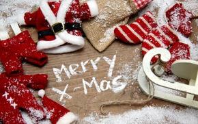 Картинка снег, праздник, игрушки, вещи, Рождество, декорации, Christmas, санки, вязанные