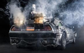 Картинка фон, дым, Назад в будущее, ДеЛориан, вид сзади, DeLorean, DMC-12, выхлоп, Back to the Future, …