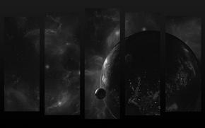 Картинка космос, планеты, черно-белое