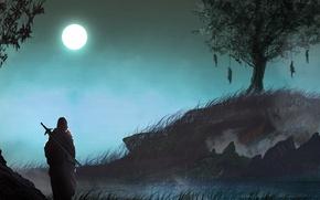 Картинка dark, moon, sword, grass, fantasy, nature, Warrior, night, tree, loneliness, painting, artwork, fantasy art, gloomy, ...