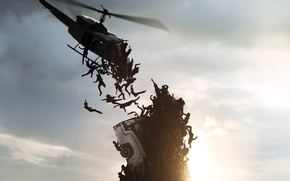 Обои dark, wallpaper, Brad Pitt, Zombie, dead, man, men, death, World War Z, Plane, Lane, Zomb, ...