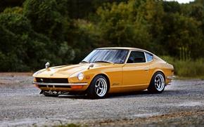 Картинка wheels, yellow, Datsun, 240Z, hrome