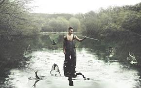 Картинка дождь, рыбалка, парень