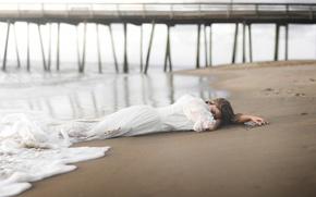 Картинка море, девушка, мост