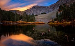 Картинка горы, озеро, отражение