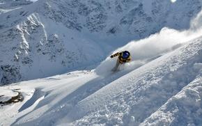 Картинка зима, снег, лыжи, гора, лыжник, экстремальный спорт