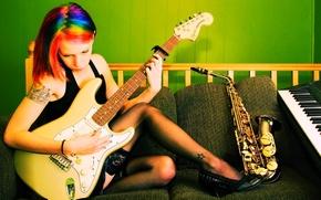 Картинка девушка, музыка, инструменты