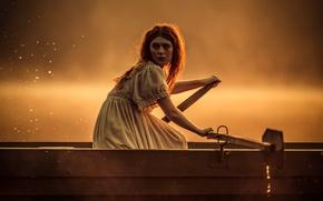 Картинка девушка, лодка, тревога, вёсла