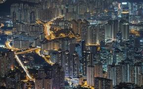 Картинка город, движение, вид, Гонконг, фонари, ночной, Peter Stewart