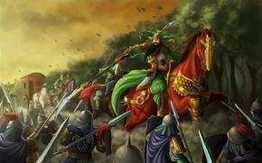 Картинка повозка, оружие, конь, азия, арт, воин, всадник, битва, самурай, нападение, копье, лошадь, лес