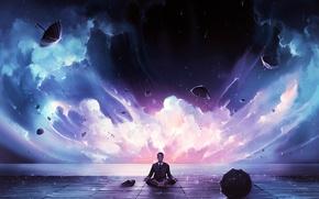 Картинка облака, дождь, медитация, арт, костюм, зонты, мужчина, поза лотоса