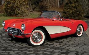 Обои chevrolet, corvette, c1, шевроле, корвет, красный