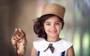 Картинка шляпа, девочка, vintage, лошадка, toy horse, child photography