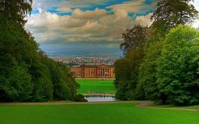 Картинка небо, трава, облака, деревья, город, парк, люди, дома, германия