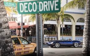 Картинка машина, улица, Jaguar, Майами, Eagle, sportcar, Miami, street, SPEEDSTER, E-TYPE
