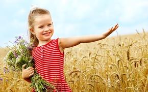 Картинка счастье, цветы, дети, детство, ребенок, букет, улыбки, flowers, пшеничное поле, child, bouquet, childhood, children, happiness, …