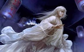Картинка ночь, пламя, фонари, мужчина, белые волосы, art, четки, dtjun