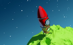 Обои планета, звезды, ракета, космос