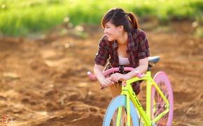 Обои лето, велосипед, девушка, азиатка