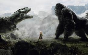 Обои девушка, динозавр, кинг-конг