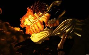 Картинка аниме, anime, fairy tail, natsu dragneel, парень.